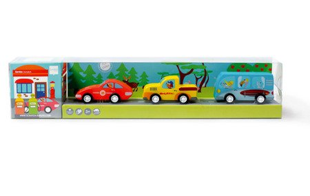 3 Drewniane Samochody Pull