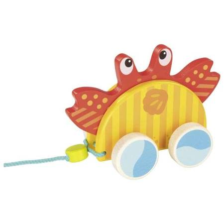 Drewniana zabawka do ciągnięcia krab