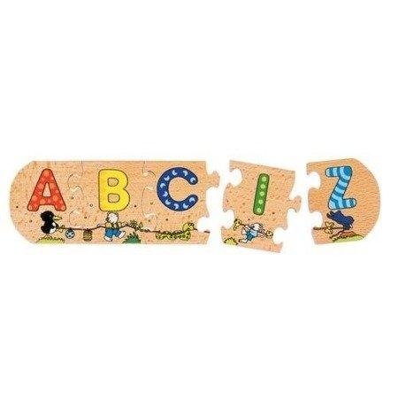 Drewniane puzzle Alfabet do nauki liter,Goki 57013
