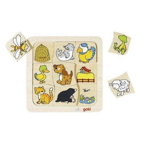 Drewniane puzzle Gdzie mieszkają zwierzątka? GOKI-56881