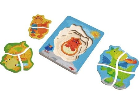 Drewniane puzzle-nakładanka Smoki