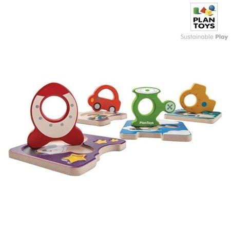 Drewniane puzzle pojazdy, Plan Toys®