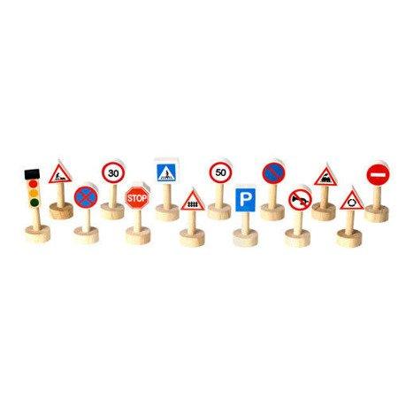 Drewniane znaki drogowe i światła, Plan Toys  PLTO-6203