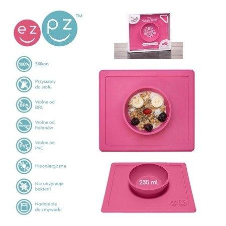 EZPZ Silikonowa miseczka z podkładką 2w1 Happy Bowl różowa