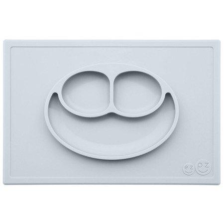 EZPZ Silikonowy talerzyk z podkładką 2w1 Happy Mat pastelowa szarość