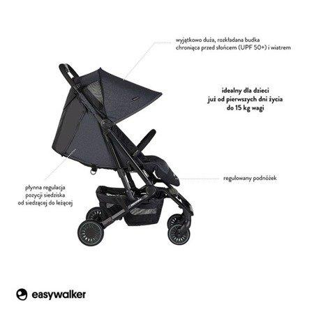 Easywalker Buggy XS Wózek spacerowy z osłonką przeciwdeszczową Melange Grey kolekcja 2019
