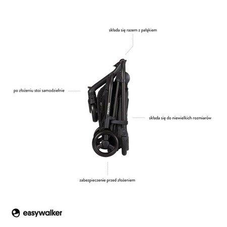 Easywalker Charley Wózek głęboko-spacerowy Night Black z czarnymi kołami (zawiera stelaż, siedzisko z budką i pałąkiem)