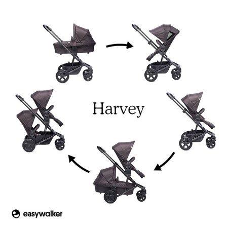 Easywalker Harvey Wózek głęboko-spacerowy All Black (zawiera stelaż, siedzisko z budką i pałąkiem)