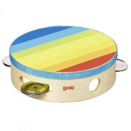 Kolorowy tamburyn, zabawka muzyczna, Goki 61920