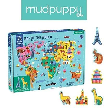 Mudpuppy Puzzle Mapa Świata z elementami w kształcie budynków i zwierząt 5+