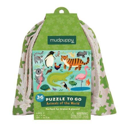 Mudpuppy Puzzle podróżne w woreczku Zwierzęta świata 36 elementów 3+
