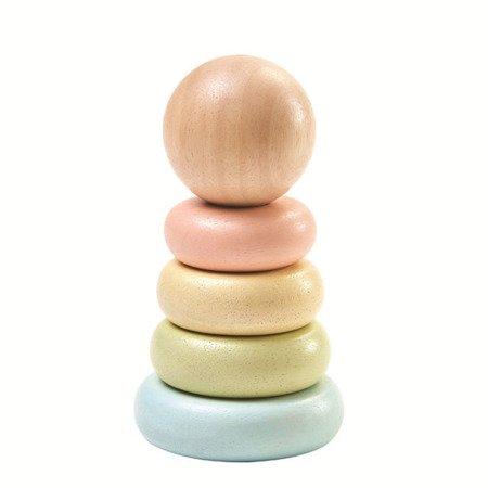 Pastelowa wieża do nakładania kółek | Plan Toys®