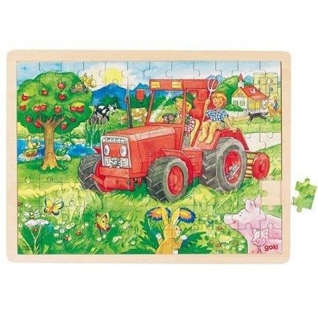 Puzzle motyw Traktor 96 el, Goki 57655