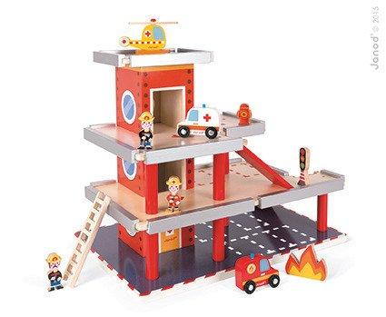 Remiza garaż drewniany z 10 akcesoriami, Janod