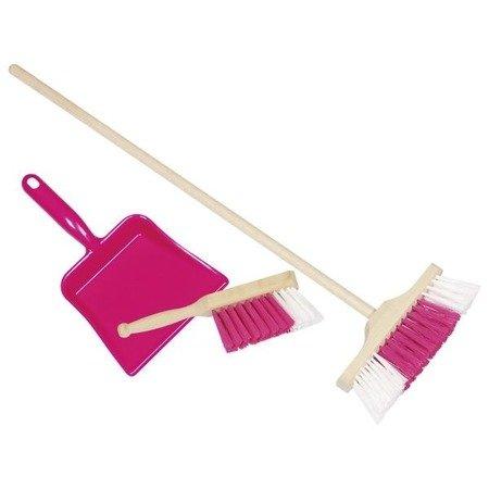 Różowy zestaw do sprzątania, szczotka + szufelka